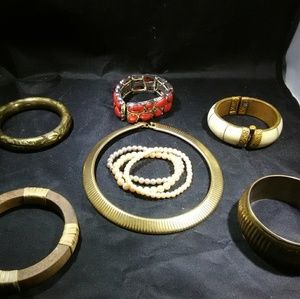 Jewelry - Vintage jewelry lot Bangles and necklace lot
